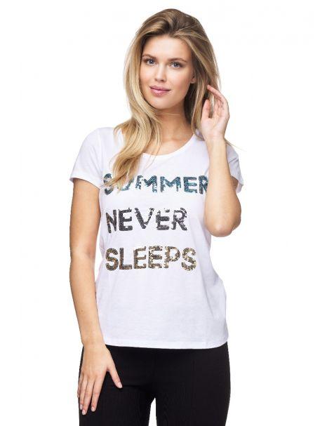 7679-Decay T-Shirt mit stylischem Pailletten-Schriftzug.