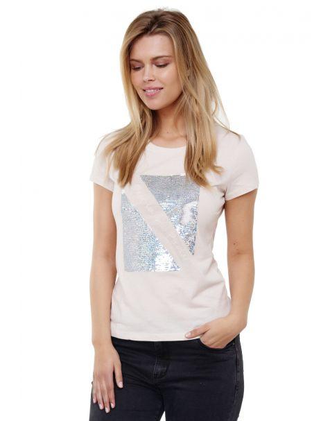 Decay Rundhalsshirt mit Glänzenden Pailletten-Beige