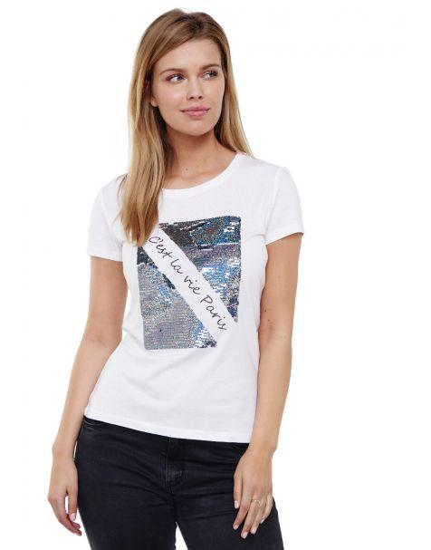 Decay Rundhalsshirt mit Glänzenden Pailletten-Weiß