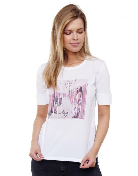 Decay T-Shirt mit Printdesign und Strassstein-Weiß/Rosa