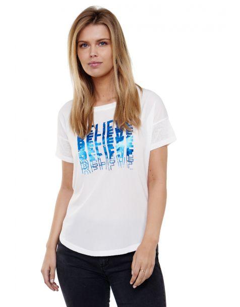 "Decay T-Shirt mit glänzendem ""BELIEVE"" Printmotiv-Weiß/Blau"
