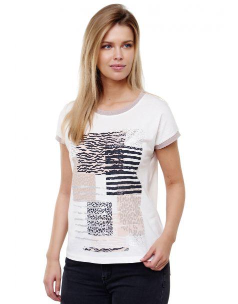 Decay T-Shirt mit lässigem Vintage-Print und Grafik Druk-Weiß