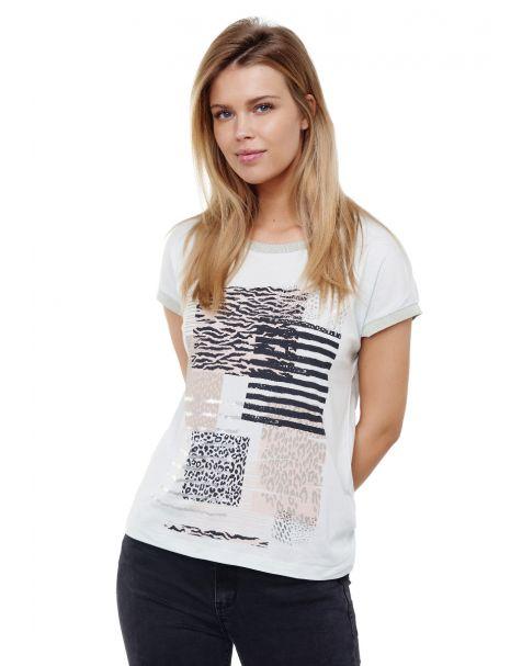 Decay T-Shirt mit lässigem Vintage-Print und Grafik Druk-Türkis