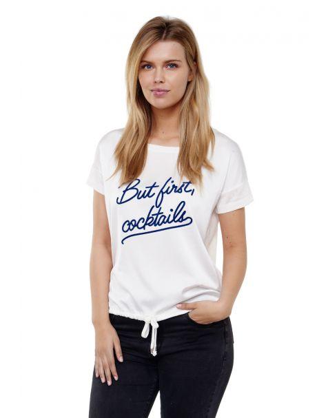 Decay T-Shirt mit Schriftzug und Schnüren-Weiß