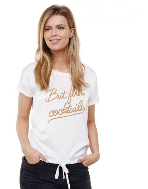 Decay T-Shirt mit Schriftzug und Schnüren-Beige