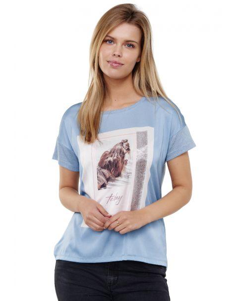Decay T-Shirt mit Grafik Druck vorne und Glänzedem Metallic Effekt-Blau
