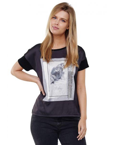Decay T-Shirt mit Grafik Druck vorne und Glänzedem Metallic Effekt-Schwarz
