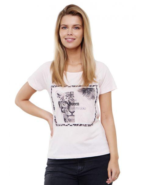 Decay T-Shirt mit Tiger-Print und perlen-Rosa