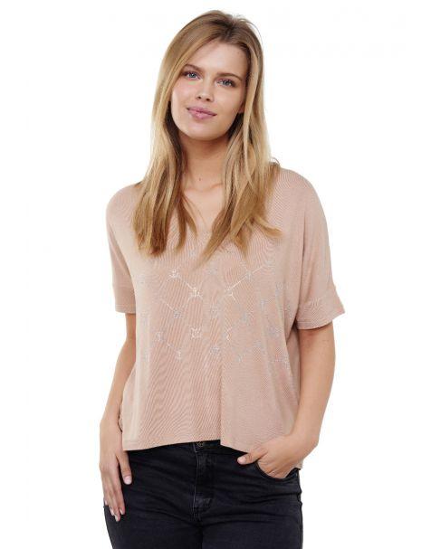 Decay T-Shirt mit V-Ausshnitt und perlen-Beige