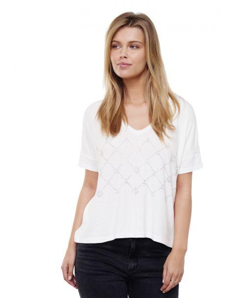 Decay T-Shirt mit V-Ausshnitt und perlen-Weiß