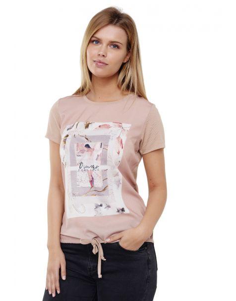 Decay T-Shirt im Printdesign mit Perlen und Schnüren-Beige