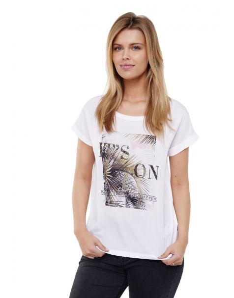Decay T-Shirt mit Tropical-design und Pailletten-Weiß