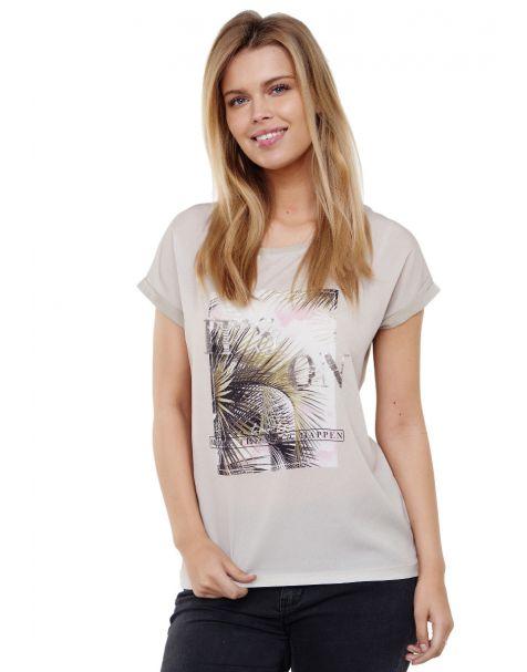 Decay T-Shirt mit Tropical-design und Pailletten-Grün