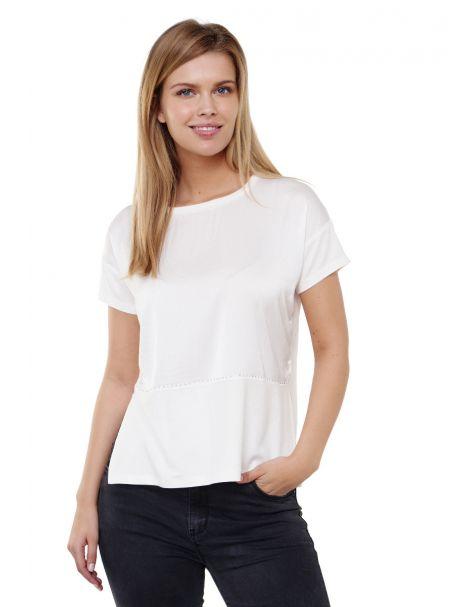 Decay Blusenshirt mit Seitenschlitz und Perlen-Weiß