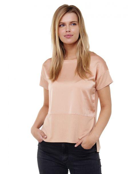 Decay Blusenshirt mit Seitenschlitz und Perlen-Beige