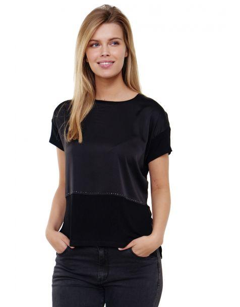 Decay Blusenshirt mit Seitenschlitz und Perlen-Schwarz