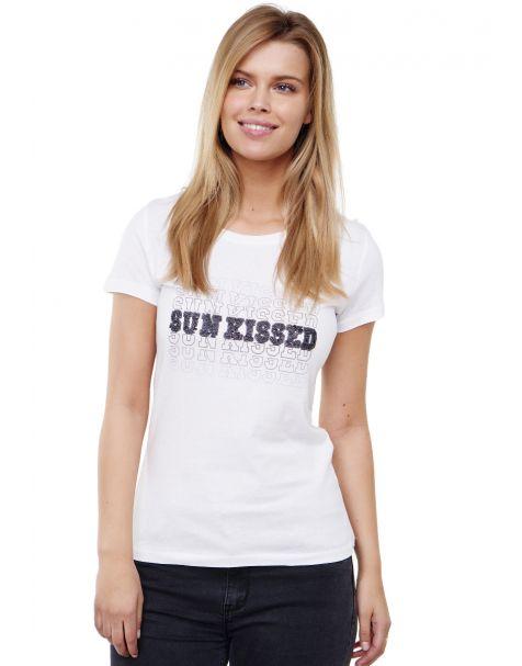 """Decay T-Shirt mit """"SUN KISSED"""" Schriftzug und Pailletten-Weiß"""