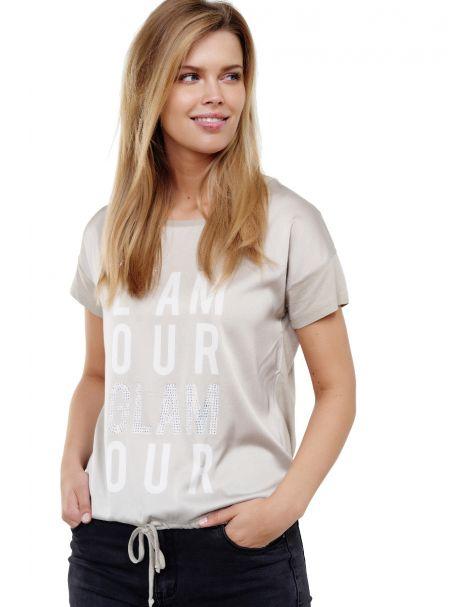 """Decay T-Shirt mit """"L`AMOUR GLAMOUR"""" Schriftzg,Strasssteinen und Schnüren"""