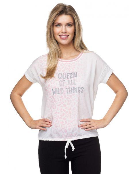 MD1402-Elegantes T-Shirt von Decay mit Tunnelzug-Rosa