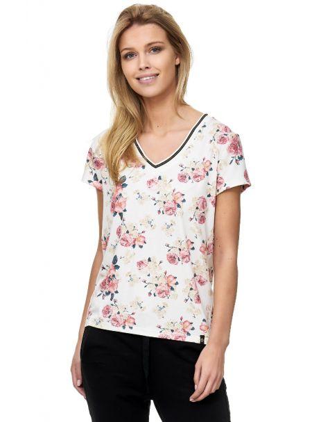 Decay Damen T-Shirt V-Ausschnitt Creme mit Blumen-Muster-Creme