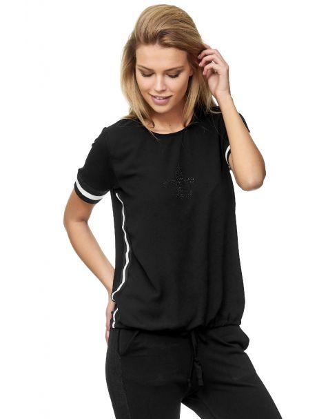 Decay T-Shirt mit Strass-Lilien-Muster und Seitenstreifen-Schwarz