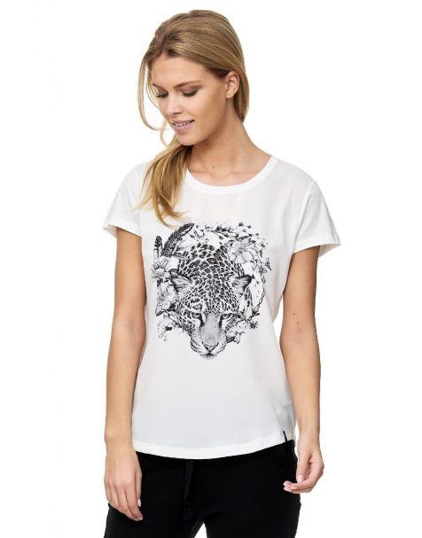 Decay Kurzarm T-Shirt Rundhals Leo-Druck- weiß
