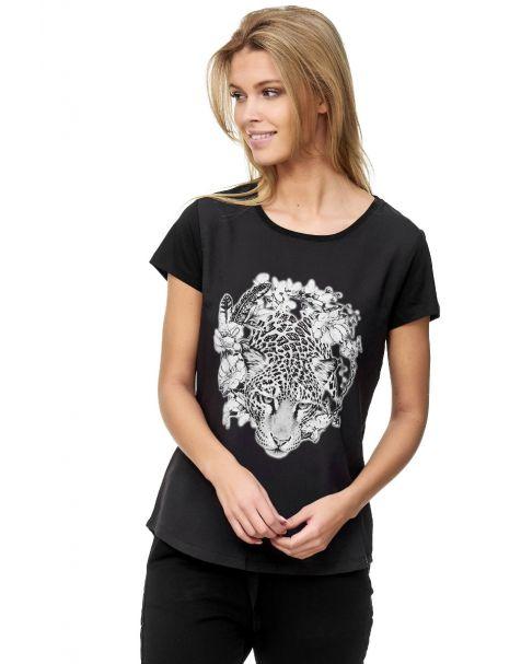Decay Kurzarm T-Shirt Rundhals Leo-Print und Perlen-Schwarz