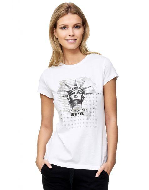 Decay Slim Fit T-Shirt Freiheitsstatue Liberty Statue Amerika-Weiß