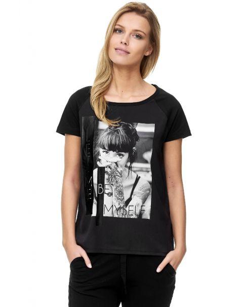 Decay T-Shirt mit Druck und Gummy-Schwarz