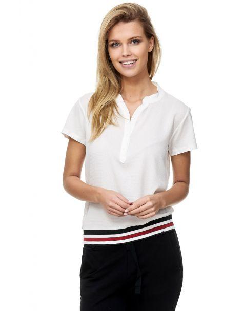 Decay Kurzarm Blusenshirt V-Ausschnitt Webband-Weiß