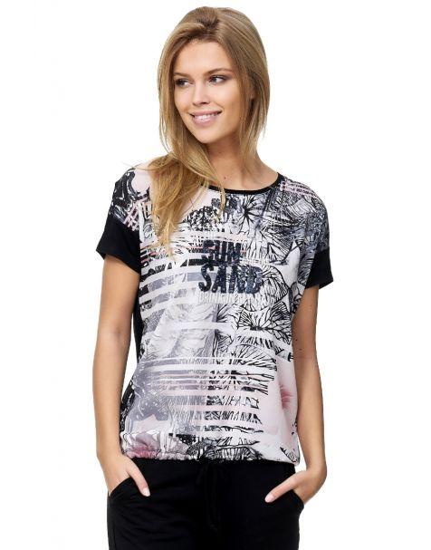 Decay T-Shirt mit Digitaldruck und Pailletten-Schwarz