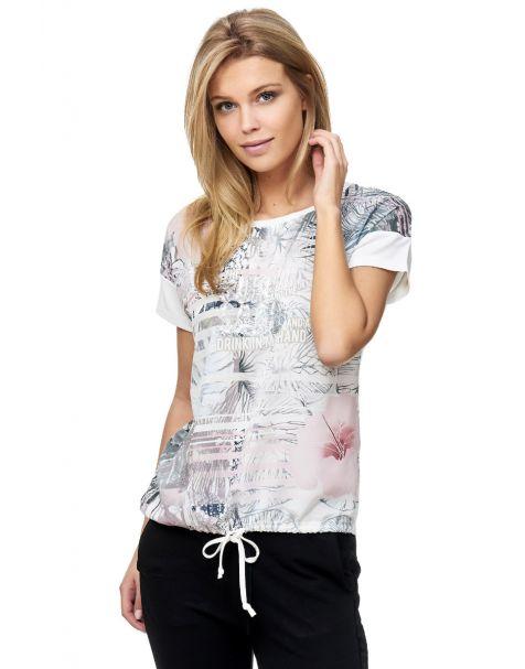 Decay T-Shirt mit Digitaldruck und Pailletten-Weiß