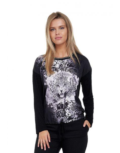 Decay Langarmshirt mit Leoparden - Aufdruck,Strass und  Schriftzug-Schwarz