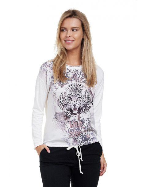 Decay Langarmshirt mit Leoparden - Aufdruck,Strass und  Schriftzug-Weiß