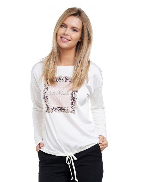 Decay Langarmshirt mit Leo - Aufdruck,Strass und  Schnüren-Weiß