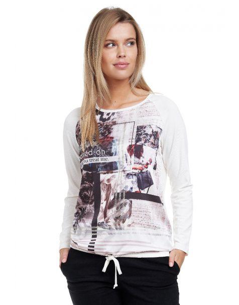 Decay Langarmshirt mit Allover-Print und Tunnelzug-Weiß