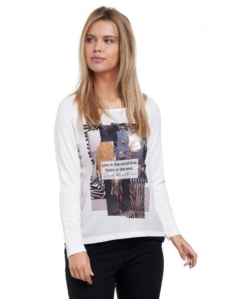 Decay Langarmshirt mit stylishem Print-Weiß