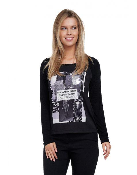 Decay Langarmshirt mit stylishem Print-Schwarz