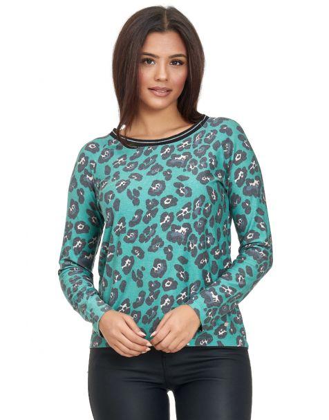 MD1468-Langarmshirt mit Leopard Print-Grün