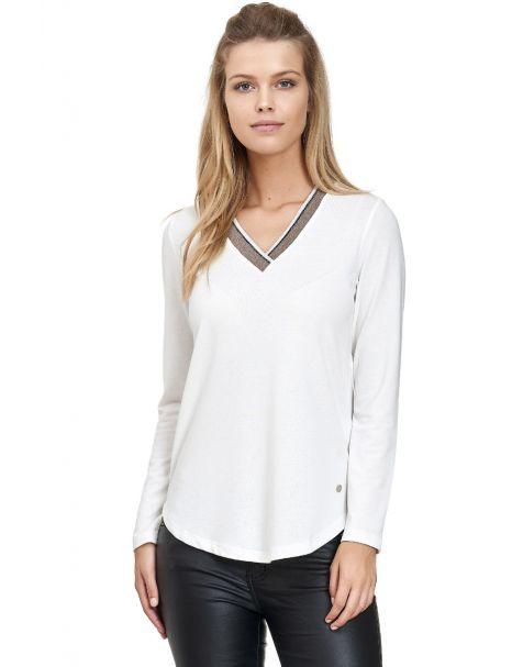 MD1471-Langarmshirt V-Ausschnitt-Weiß