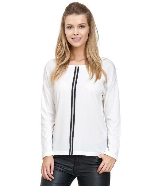 MD1492-Decay Shirt mit Silberstreifen-Weiß