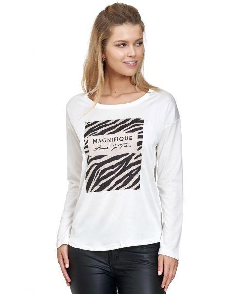 MD1493-Langarmshirt mit Magnifique Print-Weiß