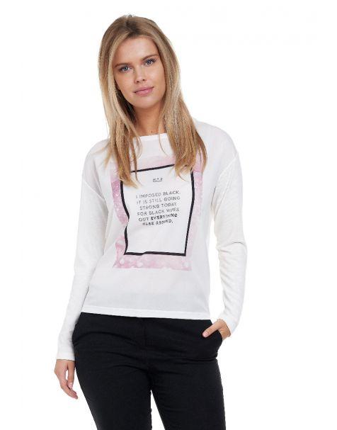 Decay Langarmshirt mit angesagtem Frontprint und Strasssteinen-Weiß