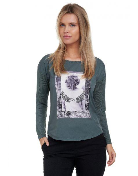 Decay Langarmshirt mit stylischem Fotoprint mit Perlen-Applikation-Khaki