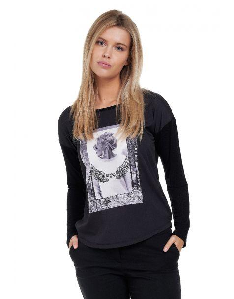 Decay Langarmshirt mit stylischem Fotoprint mit Perlen-Applikation-Schwarz