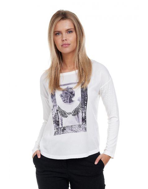 Decay Langarmshirt mit stylischem Fotoprint mit Perlen-Applikation-Weiß