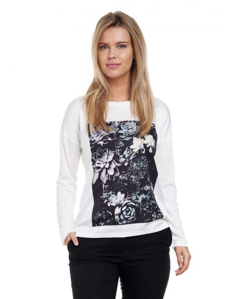 Decay Langarmshirt coolem Kakttus Blumen-Aufdruck und Schriftzug - Weiß