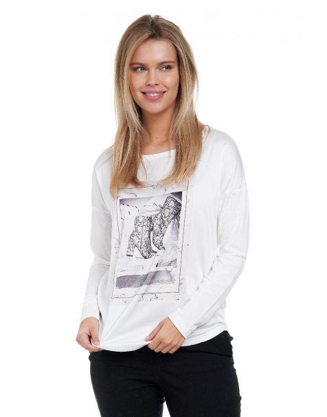 Decay Langarmshirt mit Animalischem Motivprint und Strasssteinen-Weiß