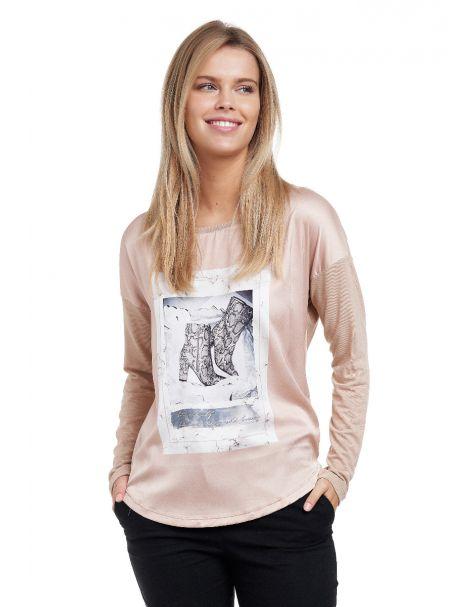 Decay Langarmshirt mit Animalischem Motivprint und perlen-Beige