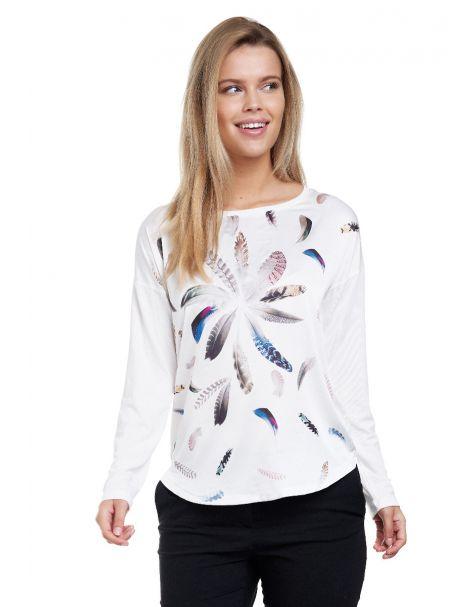 Decay Langarmshirt mit Feder - Aufdruck und Perlen-Weiß